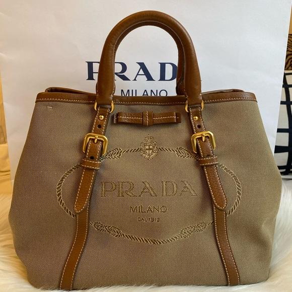 Prada Logo Jacquard Crossbody Bag